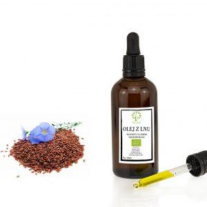 ekologiczny olej z lnu w butelce z pipetą