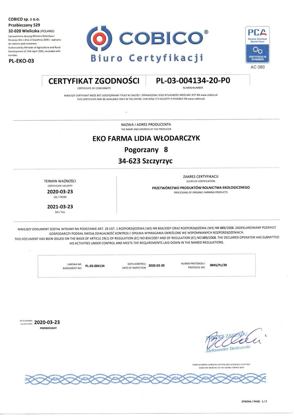 certyfikat ekologiczny Eko Farma