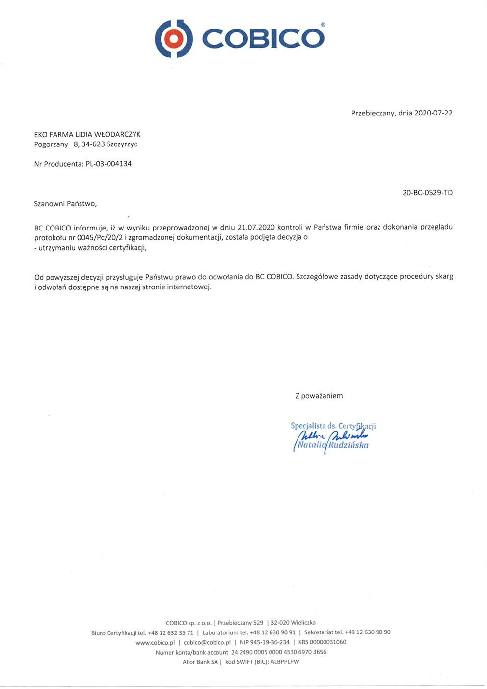 certyfikat ekologiczny - Eko farma